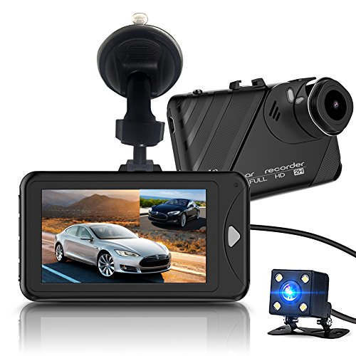 "Dash Cam,Bekhic Dash Camera for Cars with Full HD 1080P Front and 720P Rear 290 Degree Super Wide Angle Dual Cameras, 3.0"" TFT Display,Reverse Image,G-Sensor, Night Vision, WDR, Parking Guard etc"