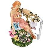 T opiky Teléfono Retro Antiguo, Teléfonos Europeos con Cable Teléfono Fijo De Moda Antigua con Calendario De Escritorio Electrónico Pantalla De Reloj con Fecha Dial Giratorio Clásico Teléfono
