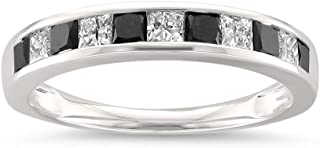 14k White Gold Princess-Cut Black & White Diamond Wedding Band Ring (1 cttw, H-I, I1-I2)