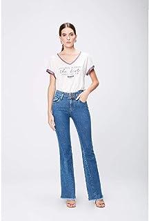 Calça Jeans Flare com Recortes Feminina