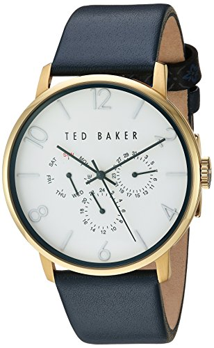 Ted Baker Men's 'Smart Casual' Quartz Stainless Steel and Leather Dress Watch, Color:Blue (Model: 10030764)