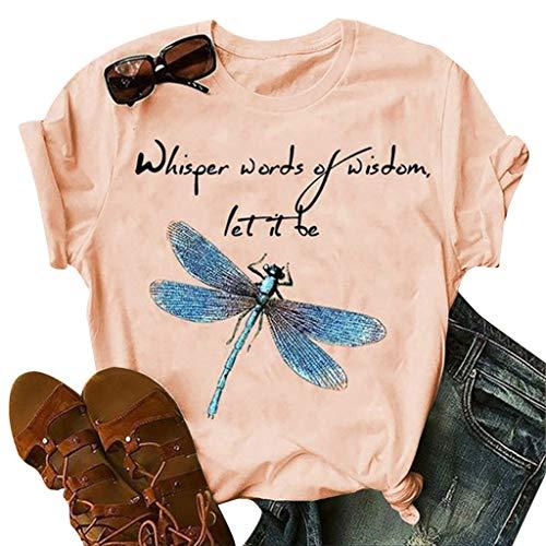 Damen Sommer T-Shirt Casual Kurzarm Oberteil Tops Bluse Shirt Fashion Womens Ladies Libelle Print Muster Loses Basic Tuniken Frauen Hemden S-3XL