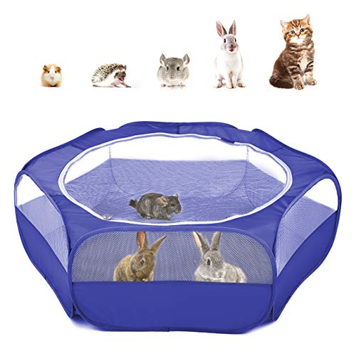 Pawaboo Kleintiere Freigehege, Wasserdicht Faltbar Kaninchen Freilaufgehege für Hasen Hühner Kätzchen Welpen Kaninchen Hamster, Visuell Laufstall mit Netz Reißverschluss und Nylonboden - Indigo