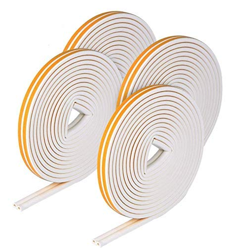 VIDEN Weather Strip Tape, Doors Windows Draught Excluder Anti-Collision Self-Adhesive Rubber D Type EPDM Foam Soundproofing Draft Stopper [4 Pack], Yellow White,8 Seals Total 24M, Upgraded