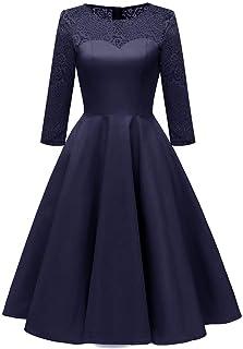 レースドレス、7点の袖のレースサテンハイエンドの女性のドレス、ロングドレスのウエディングドレスZDDAB