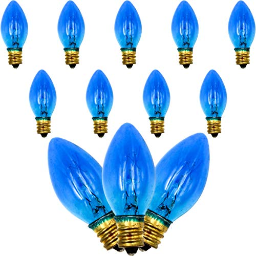 Menorah Glass Replacement Bulbs Electric Hanukkah C7 1/2, 9ct Blue