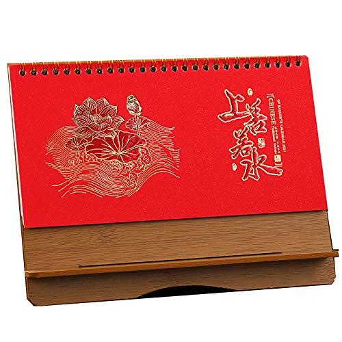Table Calendar Chinos Año Nuevo 2021 Calendario Sobremesa Pequeno 2021 para el Año Lunar del Buey,24.1x7x18.1cm,Estilo Chino Almanaque Mesa 2021 para Horarios Familiares Y Cumpleaños, Bolsillos Mensu ⭐