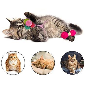 N\A Lot de 4 balles de chat colorées avec plumes et cloches pour animal domestique interactif pour intérieur et extérieur (couleur aléatoire)