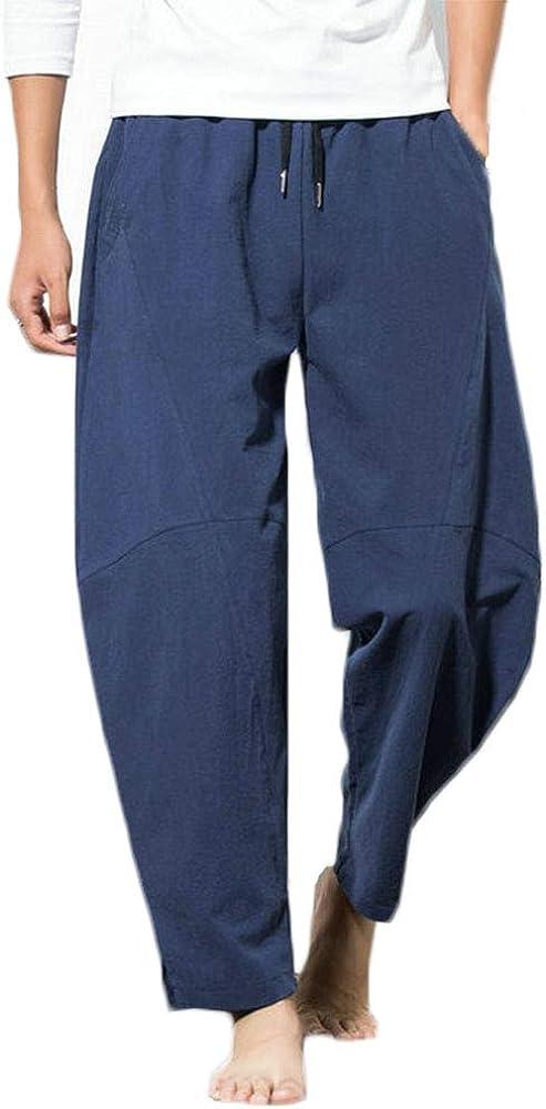 Rexcyril Colorado Springs Mall Men's Linen Casual Baggy Drawstring Cotton Las Vegas Mall Loose Pants