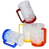 Double Wall Gel Frosty Freezer Ice Mugs, Set of 4 Frosty Beer Mugs with Handle Great as...