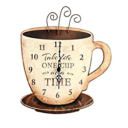 Young's Wood Take Life Coffee Wall Clock, 13.75,14098,Brown