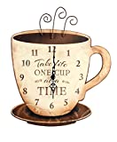 Young's Wood Take Life Coffee Wall Clock, 13.75',14098,Brown