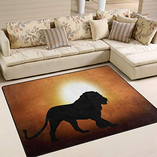 Use7 Silhouettes Teppich mit Löwen-Motiv, Textil, Multi, 203cm x 147.3cm(7 x 5 feet)
