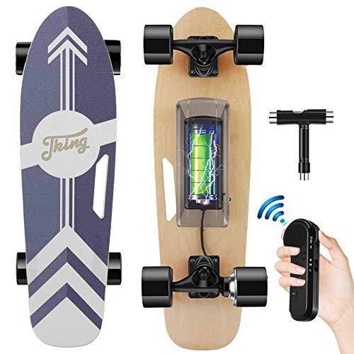 Tooluck Elektrisches Skateboard mit kabelloser Fernbedienung, 20 km/h Höchstgeschwindigkeit, 350 W Motor, 8 km maximale Reichweite, Elektrisch Longboards für Erwachsene, Jugendliche und Kinder