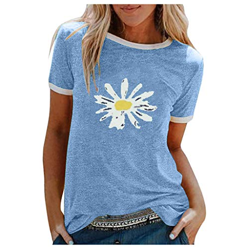 Blingko T-Shirt Damen Rundhals Kurzarm Oberteile Tunika Sommer Sonnenblumendruc Blusen Shirt Locker Elegant Tops Günstig große größen Kurzarmbluse(A Blau,L)