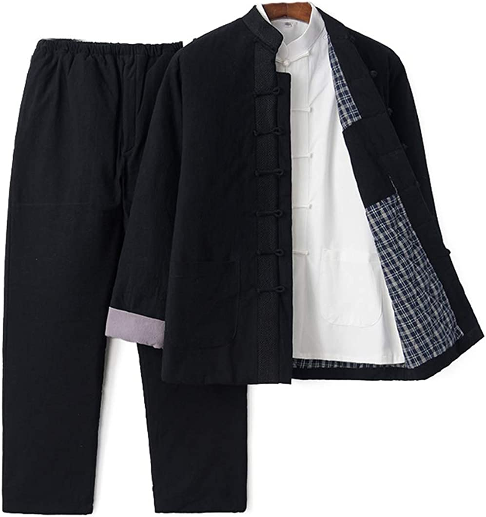 Traditional Long Sleeve Men's Cotton Kung Fu Coats Tang Suit Long-Sleeved Jackets Uniform