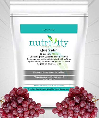 Quercetin 750mg Veg Capsule Manufactured Energy Booster Supplement by Nutrivity (30)