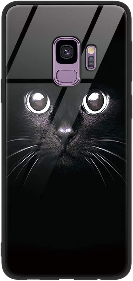 Eouine Samsung Galaxy S9 Case, [Anti-Scratch] Shockproof Patterned Tempered Glass Back Cover Case with Soft Silicone Bumper for Samsung Galaxy S9 Smartphone (Black Cat)