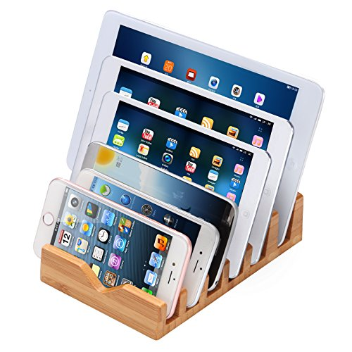 iCozzier 6 Slots Bamboo Charging Station Stand Dock Multi Device Organizer for Small Laptops, iPhone X 8 7 6S 6Plus, iPad Mini 3 4, Samsung Galaxy S5 S6,Chrome Books, Smartphones & Tablets