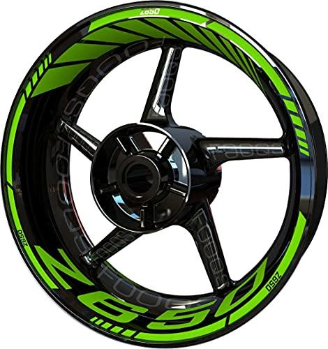 Motocicleta Moto Llanta Inner Rim Tape Decal Pegatinas F2 para Kawasaki Z650 Z 650 Z-650 (Verde 6)