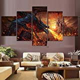 Angle&H 5 Stück Fantasie Wandkunst Feuerdrache Poster