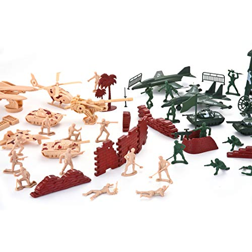 JOYIN 164 Piece Military Soldier Playset Army Men Play Bucket Army Action Figures Battle Group Deluxe Military Playset with Army Men, Aircrafts, Helicopters, Tanks with Bucket