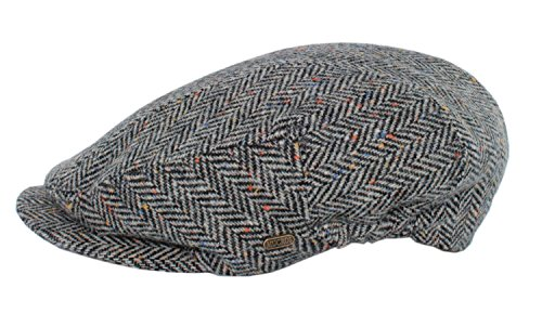 Mucros Weavers Men's Irish Made Kerry Cap, Col 1 (Salt/Pepper Herringbone), Small