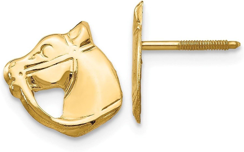 Beautiful Yellow gold 14K Yellowgold 14k White gold Madi K Screwback Horse Post Earrings