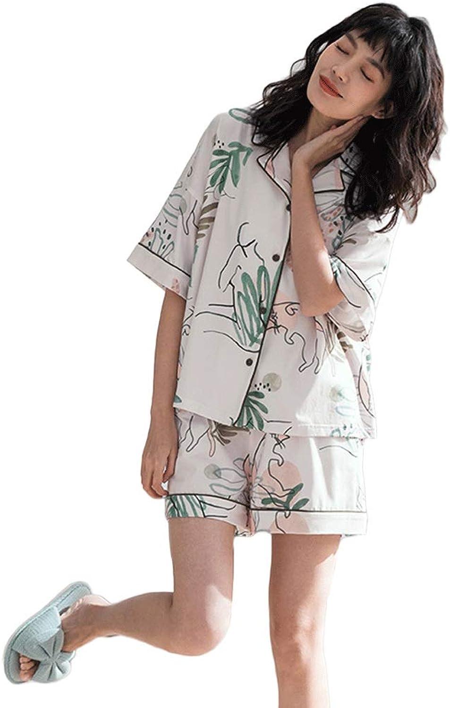 Summer Cotton Cartoon Pajamas Women's Elegant VNeck Cardigan Comfortable Casual ShortSleeved Shorts Home Service 2 Sets (color   White, Size   XL)