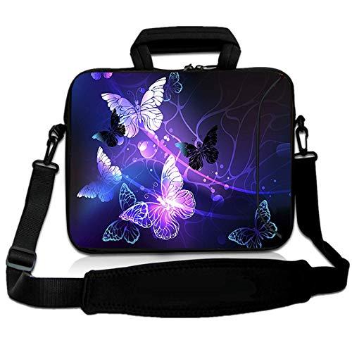 RICHEN 14 15 15.4 15.6 inch Laptop Shoulder Bag Messenger Bag Case Notebook Handle Sleeve Neoprene Soft Carring Tablet Travel Case with Accessories Pocket (14-15.6 inch, Butterflies)