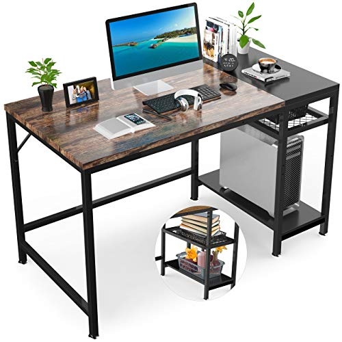 GIKPAL Computer Desk, 47'' Desk with Shelves, Laptop Table Study Writing Desk with Splice Board, PC Laptop Table Workstation for Home Office (Retro)