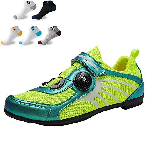 XFQ Zapatillas De Ciclismo para Mujeres, Zapatos De Bicicleta Casuales De Verano Antideslizantes Sin Bloqueo Amortiguación Transpirable Zapatillas De Ciclismo De Carretera,Verde,42EU