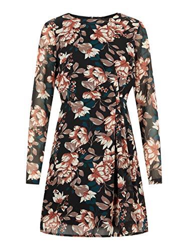 VERO MODA Damen VMWILMA LS Short Dress WVN Kleid, Mehrfarbig (Black AOP: Wilma), 38 (Herstellergröße: M)