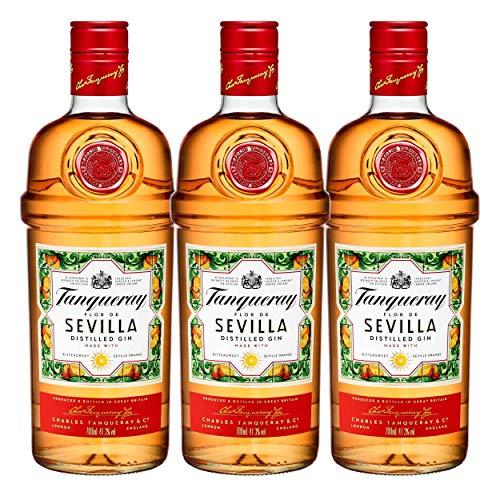 TANQUERAY Flor de Sevilla 753383 - Juego de 3 Botes de Alcohol destilados, 41,3%, 700 ml