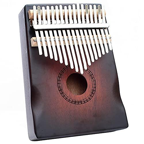 Kalimba 17-Key Caoba Finger Piano Retro Tambourine Percussion Instrumento Para El Entusiasta De La Música Principiantes Portátil Thumb Piano Con Kit De Estudio Y Afi Retro-18cm X 13cm