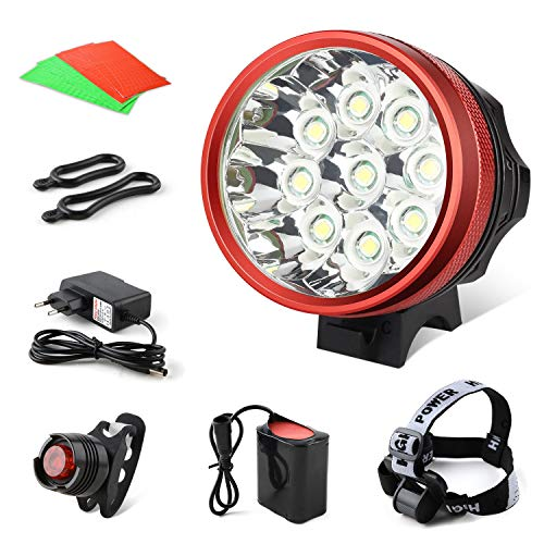 GHB Foco Bicicleta Luces para Bicicleta Impermeable IPX-5 9LED T6 15000LM con...