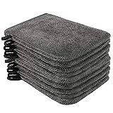 PHOGARY Lot de 10 Gants de Toilette Microfibre (Gris) Taille 15 x 21 cm,...