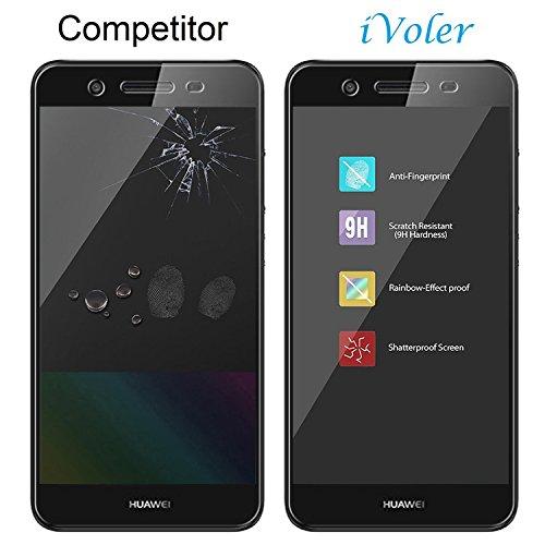 iVoler [2 Stücke] Huawei P8 Lite Smart Panzerglas Schutzfolie [9H Härte] [Anti- Kratzer] [Bläschenfrei] [2.5D Runde Kante] - 6