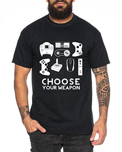 Choose Your Waepon Herren T-Shirt Gamer Play Sport Station Controller ps Game, Farbe:Schwarz;Größe:3XL