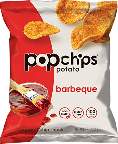 Popchips Potato Chips BBQ Potato Chips, Single Serve 0.8 oz Bags (Pack of 24)