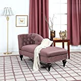 Divano Roma Furniture Chaise Lounge Indoor Chair Tufted Velvet Fabric, Modern Long Kid Size Lounger for Office or Living Room (Mauve)