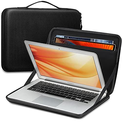 FINPAC Funda para Portátiles de 13', Dura Bolsa de Transporte para MacBook Air 2018-2020 M1/A2337 A2179, MacBook Pro 2016-2020 M1/A2338 A2251, con Tablet Bolsillo para 9.7-11' iPad Pro/Air, Negro