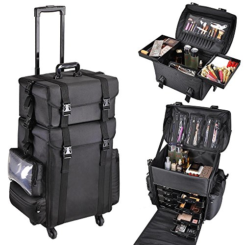AW Classic Black 2in1 Soft Sided Rolling Makeup Case Freelance Makeup Artist Cosmetic Organize