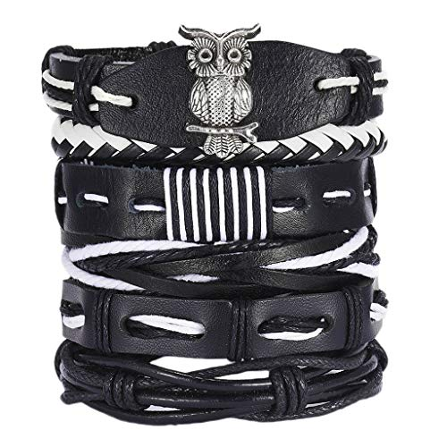 Sharplace Damen Herren Armbänder, Geflochten Punk Armreifen, Wickelarmband Manschette Vintage Leder Armband stapelbar mit Perlen - 6pcs Eule