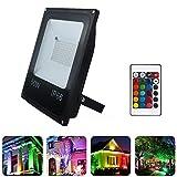MINGRT Foco LED RGB con Control Remoto,16 Colores y 4 Modos, Foco Proyector Exteriores con Función de Memoria Impermeable...