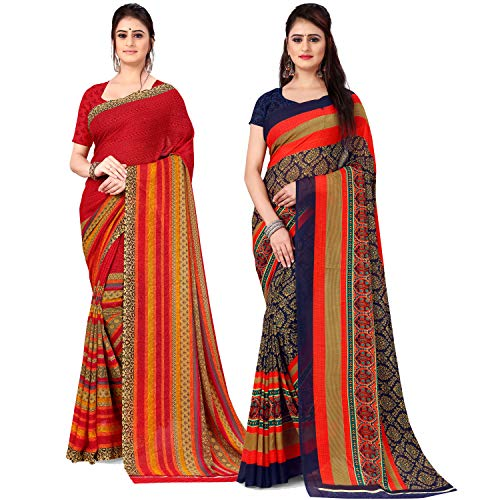 Anand Sarees Georgette with Blouse Piece Saree (Pack of 2) (Combo_AS_1499_1164_1_Multicoloured_One Size)