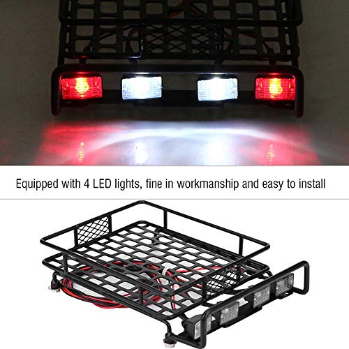 Dilwe RC Auto-Dachgepäckträger, großes Dachgepäckträger-Gepäckträger mit Quadrate-LED-Licht für Axial SCX10 1/10 RC-Crawler-Auto( 2 Weiß 2 Rot)