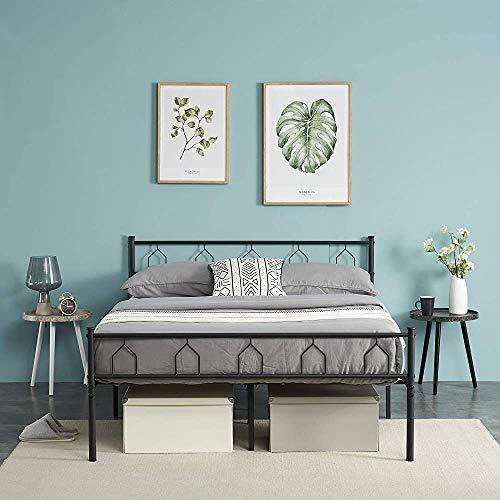 Bed Bed Frame Structure Modern Metal Bed Frame 3 ft Internet Metal Bed with Solid Metal Support Strip, 90 x 190 cm,Black-140 x 190 cm