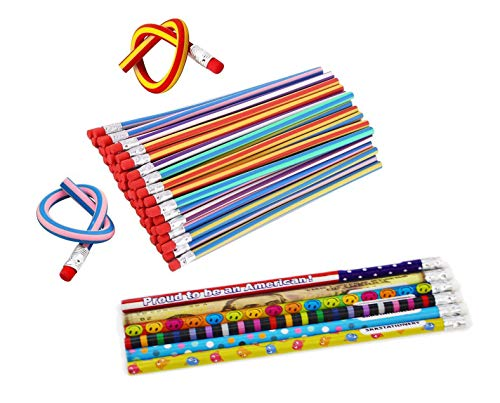 SKKSTATIONERY Colorful Magic Bendy Flexible Soft Pencils 30Pcs, with Assorted Colorful Pencils 6Pcs, for Kids Writing Gift