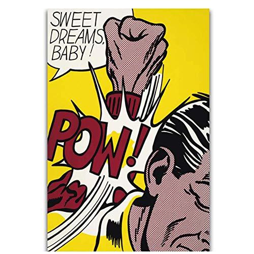 Pop Art Artwork Roy Lichtenstein Sweet Dreams Baby Pow Wall Art schilderij afdrukken op zijde Canvas Poster Home-50x70cmx1 frameloze